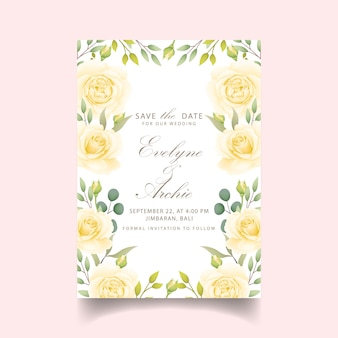 Invitation de mariage floral avec rose blanche