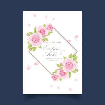 Invitation de mariage floral avec rose rose