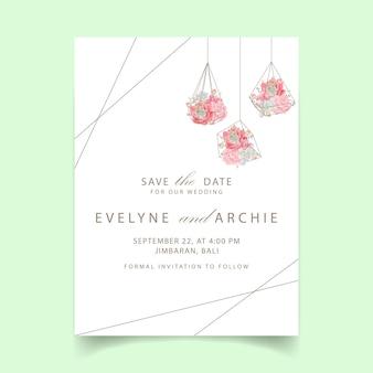 Invitation de mariage floral avec succulent en terrarium