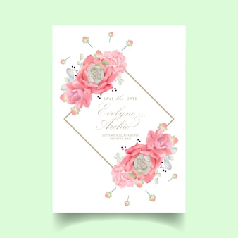 Invitation de mariage floral avec succulente