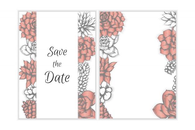 Invitation de mariage floral, succulentes dessinées à la main de style bohème.