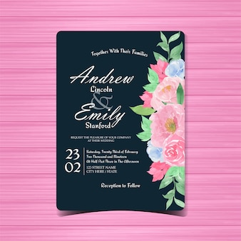 Invitation de mariage floral vintage