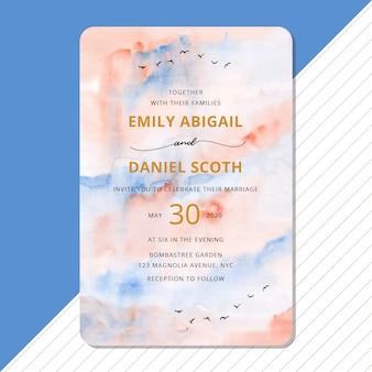 Invitation de mariage avec fond aquarelle ciel abstrait