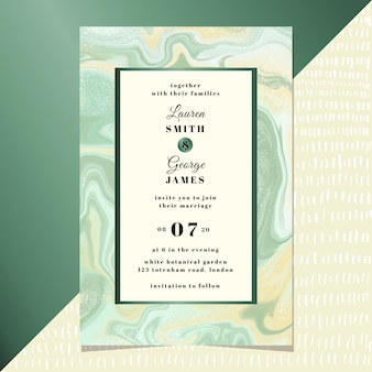Invitation de mariage avec fond de marbre vert jaune