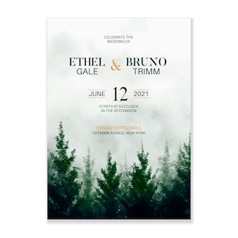 Invitation de mariage de forêt de brume d'aquarelle