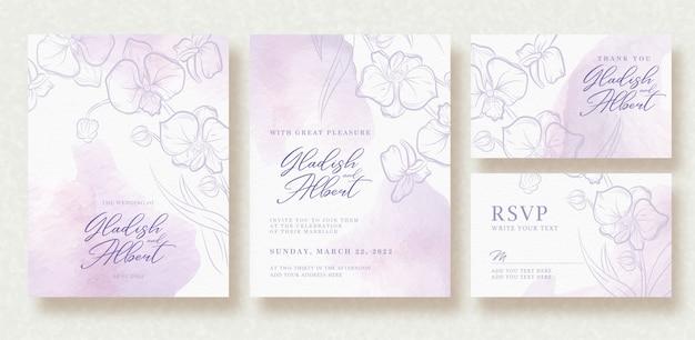 Invitation de mariage avec forme aquarelle pinceaux fond