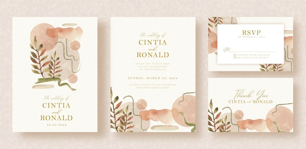 Invitation de mariage avec des formes abstraites et des fleurs à l'aquarelle