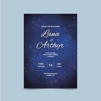 Invitation de mariage galaxie aquarelle