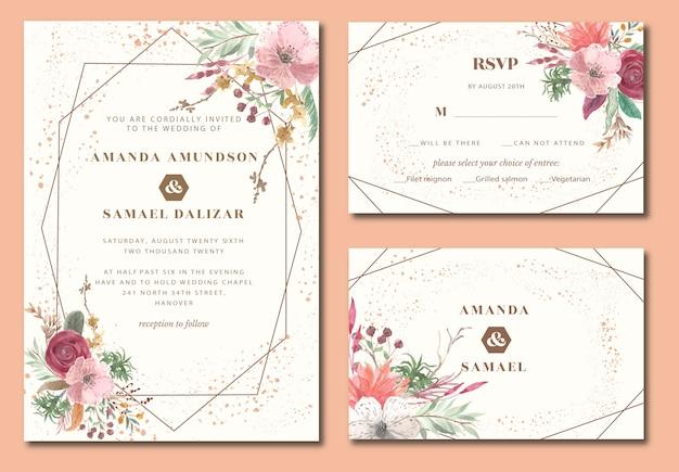 Invitation de mariage géométrique avec aquarelle florale vintage