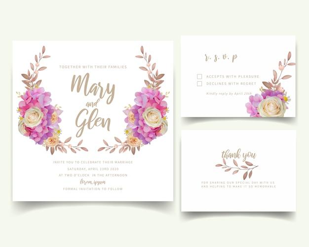 Invitation de mariage avec hortensia rose floral et fleurs roses