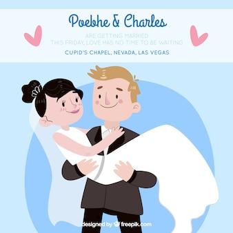 Invitation de mariage avec une illustration plate