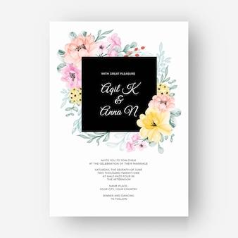 Invitation de mariage jaune rose pastel de couleur de cadre de belle fleur