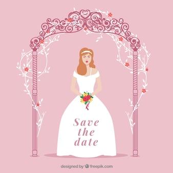 Invitation de mariage avec la jeune mariée mignonne