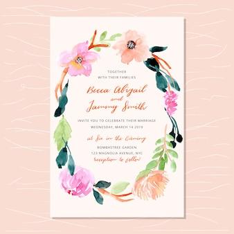 Invitation de mariage avec joli cadre floral aquarelle