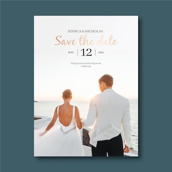 Invitation de mariage avec joli couple