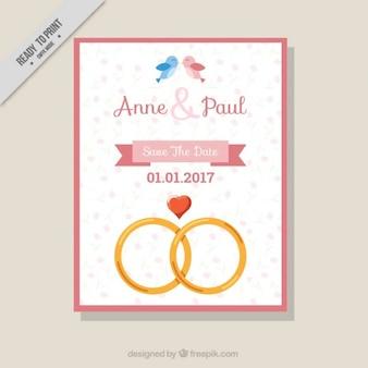 Invitation de mariage avec de jolis anneaux