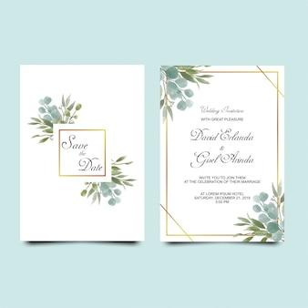 Invitation de mariage laisse style aquarelle
