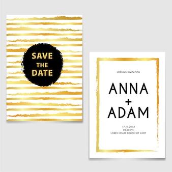 Invitation de mariage avec ligne pinceau or et noir