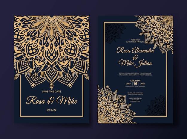 Invitation de mariage de luxe élégant avec un design de mandala