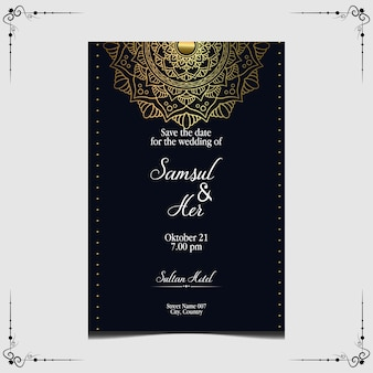 Invitation de mariage de luxe mandala or.