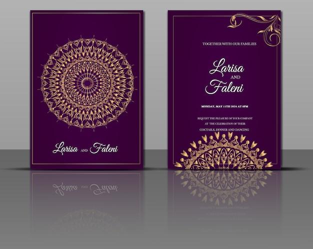 Invitation de mariage de luxe mandala or