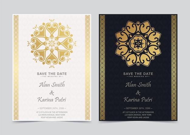 Invitation de mariage de luxe en mandala