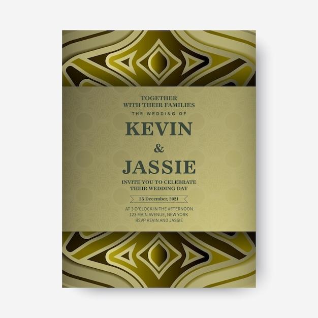 Invitation de mariage de luxe avec ornement en or