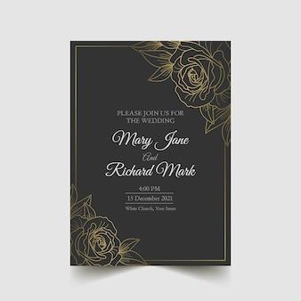 Invitation de mariage de luxe rose détaillée d'or