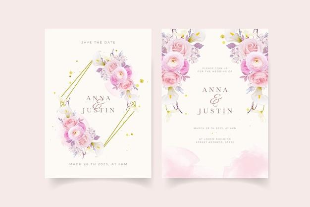 Invitation de mariage avec lys rose rose aquarelle et fleur de renoncule