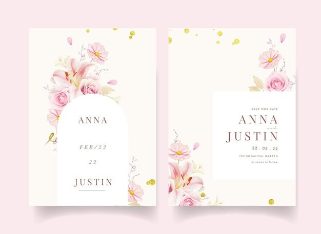 Invitation de mariage avec lys de roses roses aquarelles et lys calla