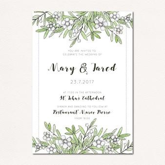 Invitation de mariage à la main dessinée botanique