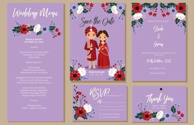Invitation de mariage, menu, rsvp, étiquette de remerciement enregistrer la carte de date