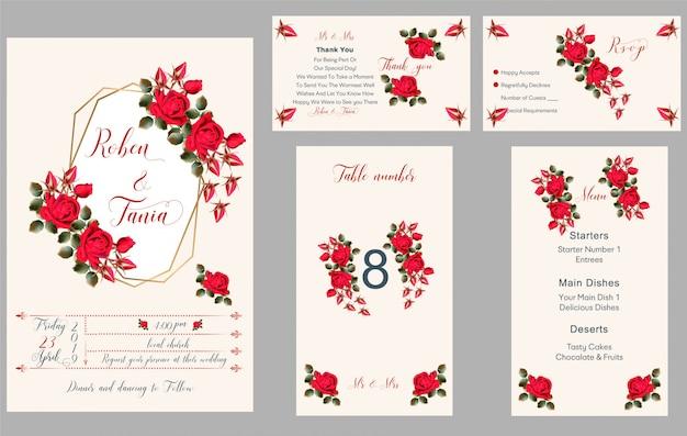 Invitation de mariage, merci, rsvp, menu, numéro de table
