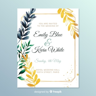 Invitation de mariage mignon avec des feuilles