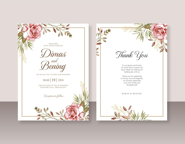 Invitation de mariage minimaliste avec aquarelle rose