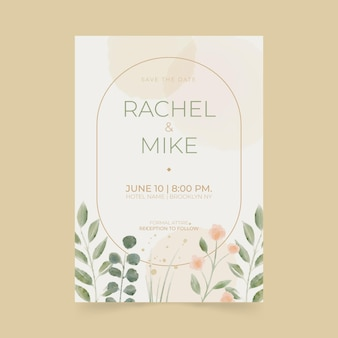 Invitation de mariage minimaliste aquarelle