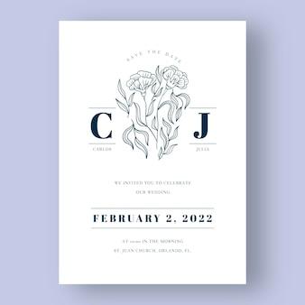 Invitation de mariage minimaliste dessiné à la main