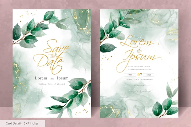 Invitation de mariage minimaliste avec fond d'aquarelle floral et élégant de verdure