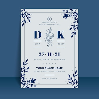 Invitation de mariage minimaliste plat organique
