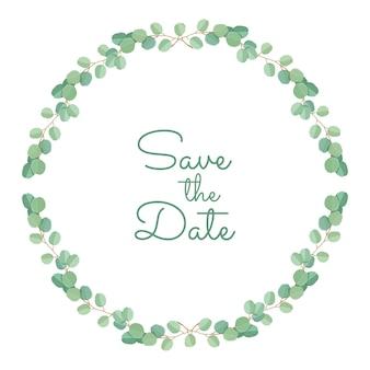 Invitation de mariage modèle de feuilles et de branches d'eucalyptus vert