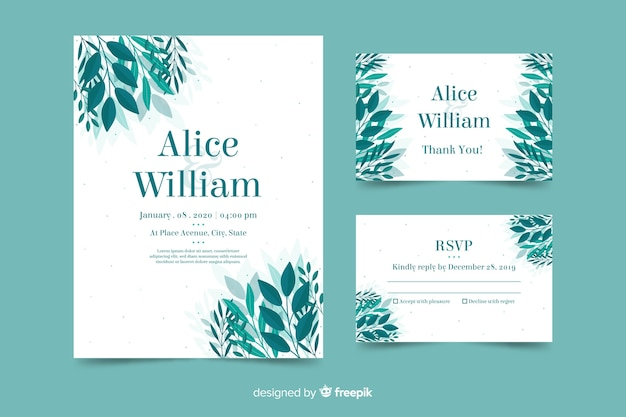 Invitation de mariage avec modèle de feuilles