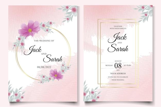 Invitation de mariage et modèle de menu avec une belle rose premium
