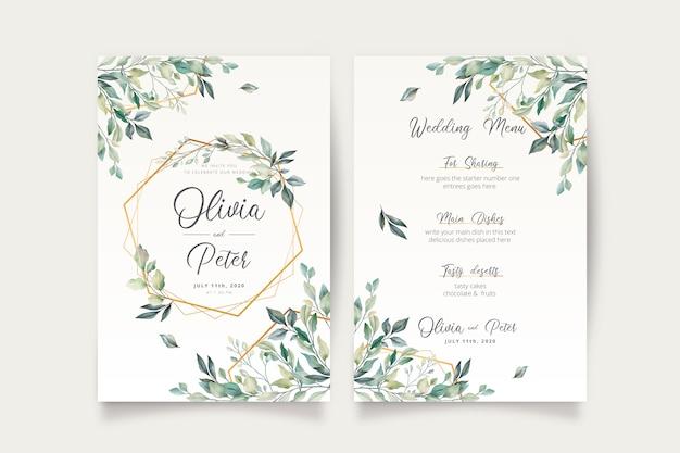 Invitation de mariage et modèle de menu avec de belles feuilles