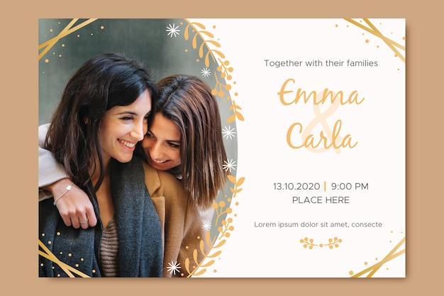 Invitation de mariage de modèle avec photo