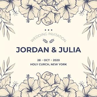 Invitation de mariage de modèle réaliste dessiné main fleurs
