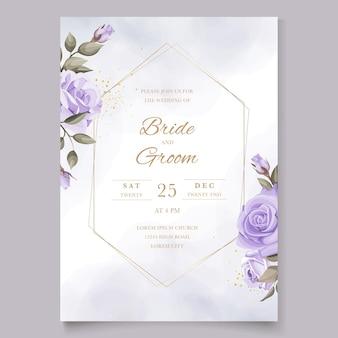 Invitation de mariage avec modèle de roses violettes
