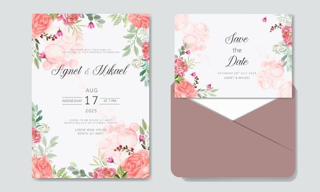Invitation de mariage avec des modèles de fleurs belles et romantiques