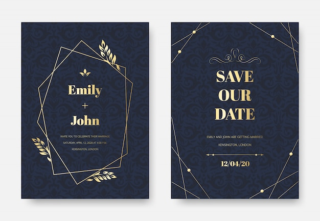 Invitation de mariage moderne. carte d'invitation élégante, motif d'ornement de brins floraux damassés vintage et ensemble de cadre d'étiquette premium