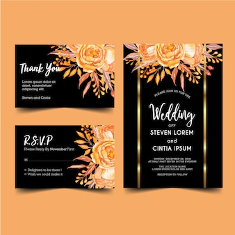 Invitation de mariage moderne orange et or, aquarelle florale