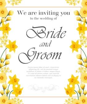 Invitation de mariage avec des narcisses jaunes et des gerberas.